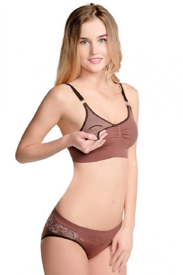 Б-024 Трусы бесшовные дородовые для беременных женщин шоколадный/узор
