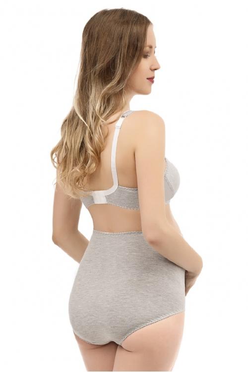 86005 Трусы дородовые для беременных высокие серый меланж
