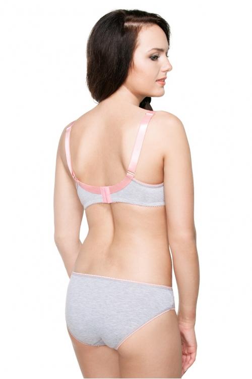 26005 Трусы для беременных (универсальные) с контрастной отделкой серый меланж/розовый