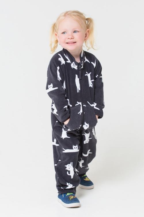 ФЛ 60001/н/32 РР Флисовый комбинезон для девочки и мальчика белые котики на черном