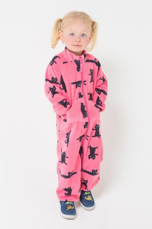 ФЛ 60001/н/33 РР Флисовый комбинезон для девочки черные котики на розовом