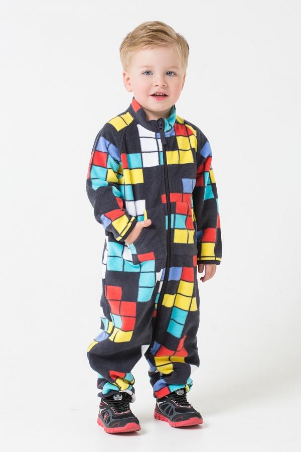 ФЛ 60001/н/35 РР Комбинезон для мальчика цветной принт квадратики