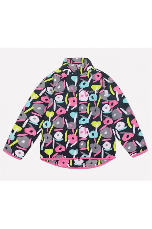 ФЛ 34011/н/20 РР Флисовая куртка  для девочки принт розовый