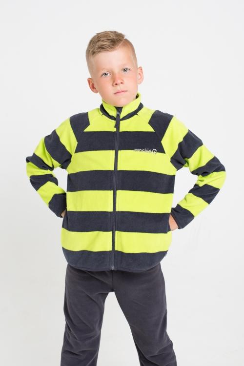 ФЛ 34011/н/23 РР Флисовая куртка  для мальчика принт зеленая полоска