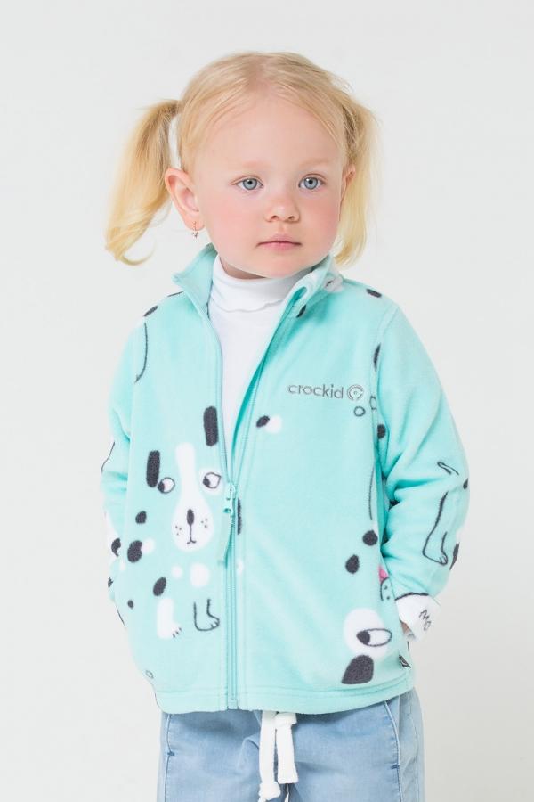 ФЛ 34025/н/12 РР Флисовая куртка  для мальчика и девочки собачки на мятном