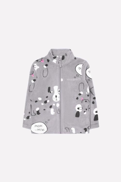 ФЛ 34025/н/16 РР Флисовая куртка  для мальчика собачки на сером