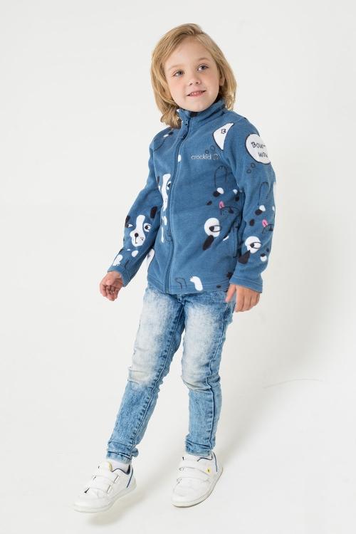 ФЛ 34025/н/17 РР Флисовая куртка  для мальчика собачки на синем