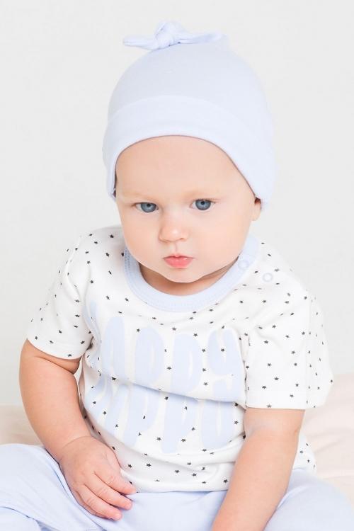 К 8036 шапка детская для мальчика светло-голубой бегемотик
