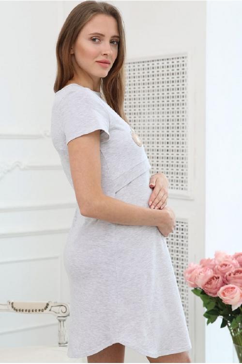 1-НМП 00801 Сорочка женская для беременных и кормящих мам серый меланж/бежевый