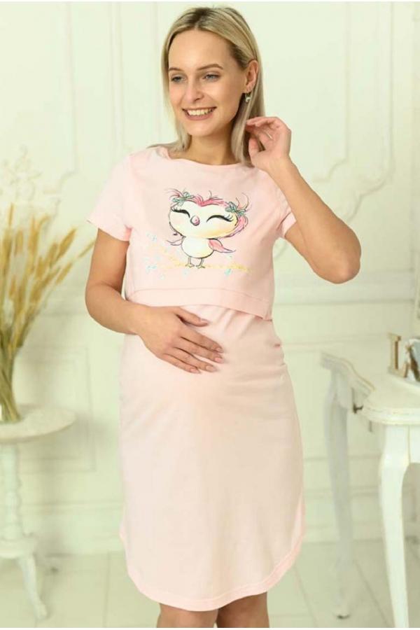 1-НМП 00801 Сорочка женская для беременных и кормящих мам розовый/желтый