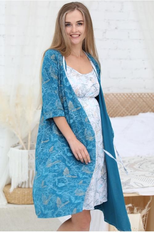 П 01504 К Комплект женский для беременных и кормящих морская волна/белый