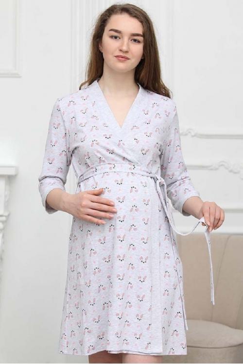 1-НМК 02002 Халат для беременных и кормящих серый/розовый