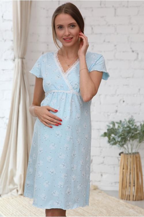 1-НМП 20801 Сорочка женская для беременных и кормящих голубой/белый