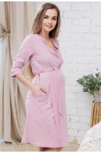 П03504В Халат для беременных и кормящих пудровый/белый
