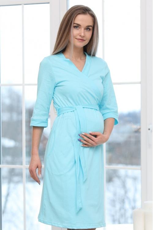 П03504В Халат для беременных и кормящих мам белый горох/бирюзовый