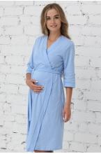 П03504В Халат для беременных и кормящих мам голубой/белый