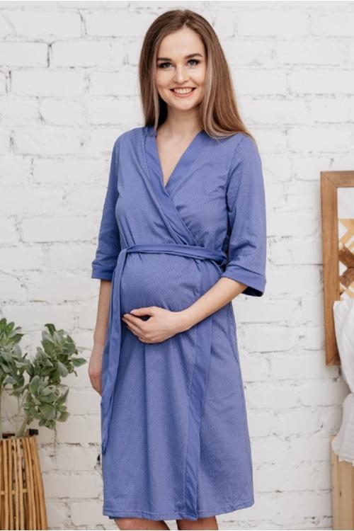 П03504В Халат для беременных и кормящих индиго/белый