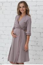 П03504В Халат для беременных и кормящих мам лиловый/белый