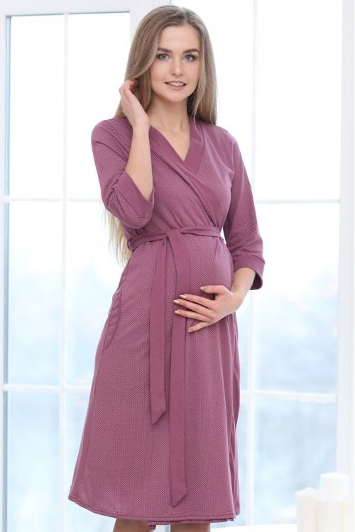 П03504В Халат для беременных и кормящих мам пурпурный/белый