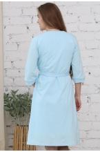 П03504В Халат для беременных и кормящих светло-голубой/белый