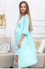 П03504В Халат для беременных и кормящих мам мятный/белый горох