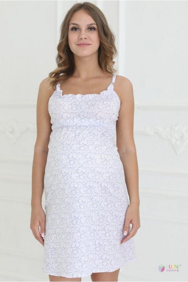 1-НМП 07501 Сорочка женская для беременных и кормящих белый/сиреневый
