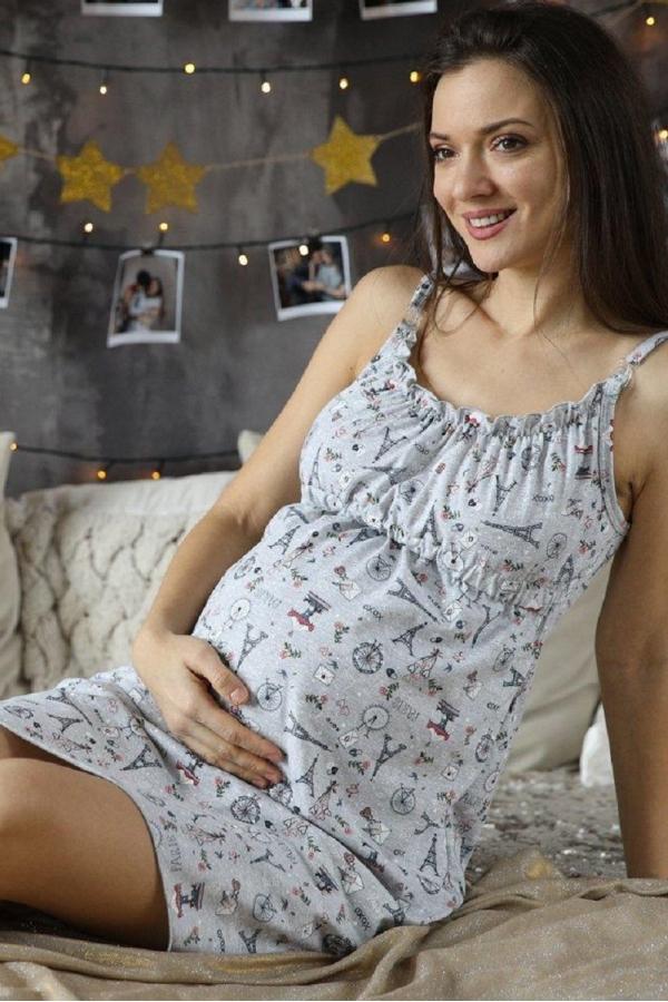 1-НМП 07501 Сорочка женская для беременных и кормящих серый
