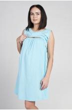 1-НМК 07720 Комплект (сорочка + халат) для беременных и кормящих голубой/белый