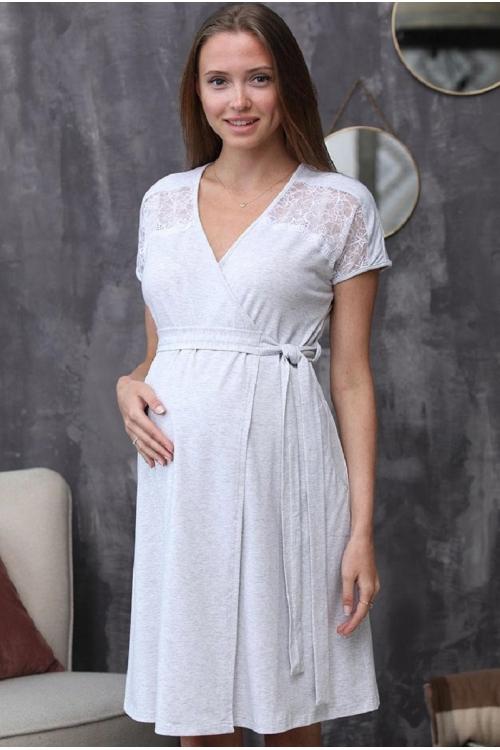 1-НМК 08402 Халат для беременных и кормящих мам серый меланж/белый