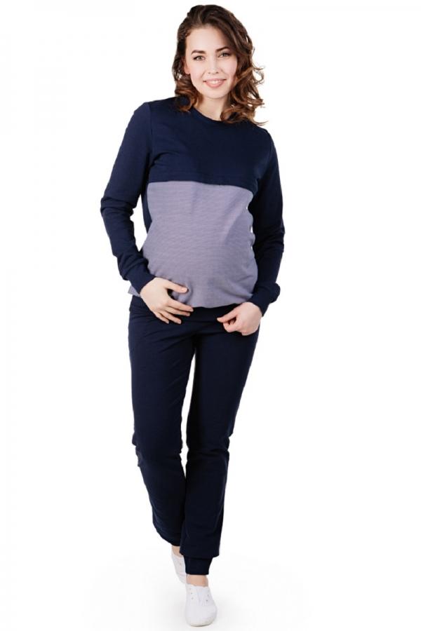1-НМО 08634 Спортивный костюм для беременных и кормления синий/принт