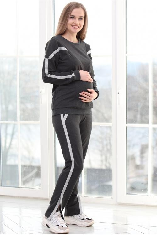 1-116505К Костюм для беременных и кормящих тёмно-серый/серебристый