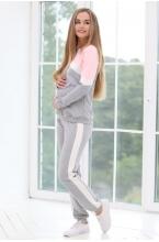 1-126505К Костюм спортивный для беременных и кормящих мам розовый/молочный/серый