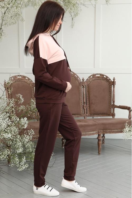 1-313505К Костюм для беременных и кормящих женщин коричневый / пудровый