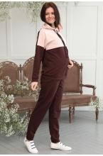 1-313505К Костюм для беременных и кормящих женщин коричневый/пудровый