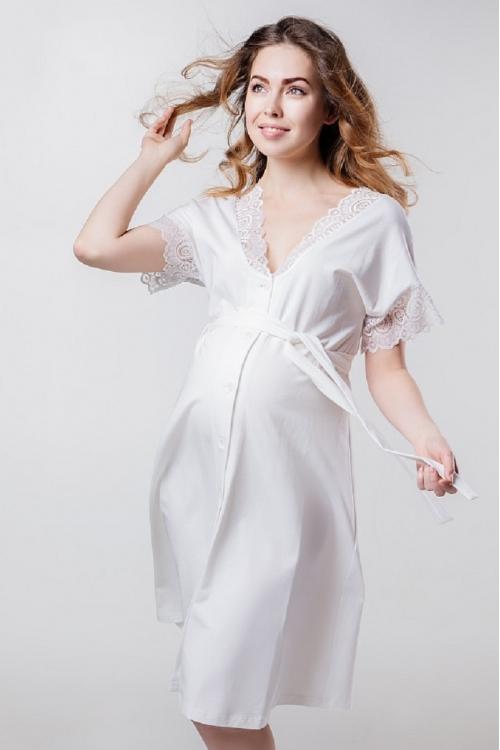 1-НМК 05602 Халат женский для беременности и кормления с кружевом молочный