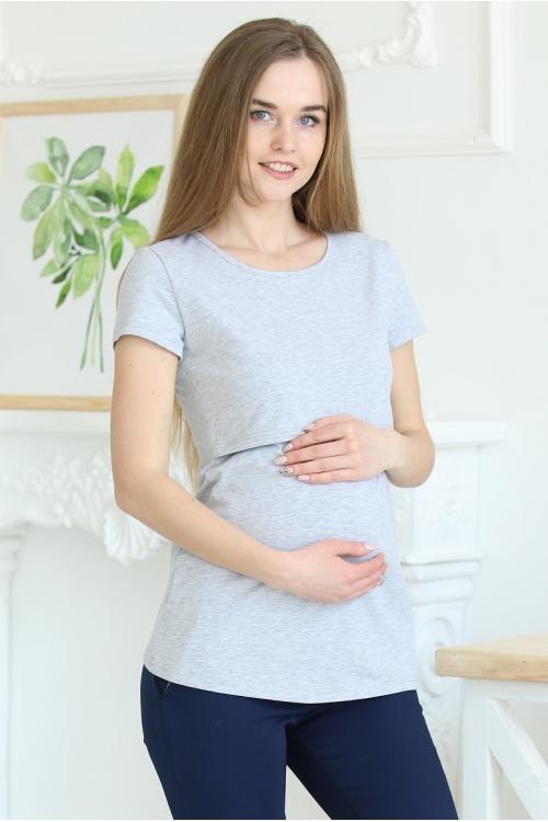 1-125505А Майка для беременных и кормящих серый меланж