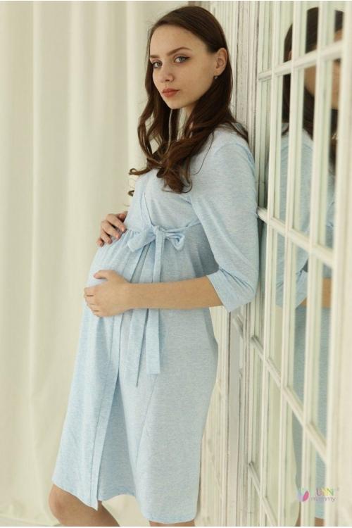 1-НМК 12801 Халат для беременных и кормящих мам голубой