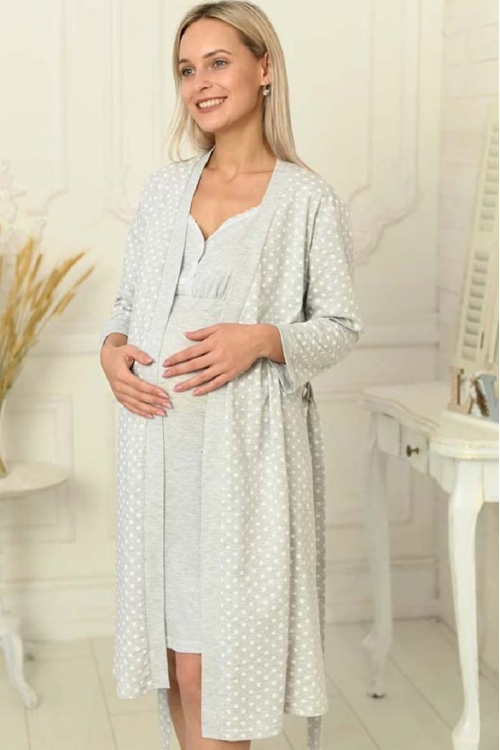1-НМК 13920 Комплект для беременных и кормящих серый меланж/белый