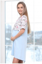 П143505А Сорочка женская для беременных и кормящих голубой/белый/розовый