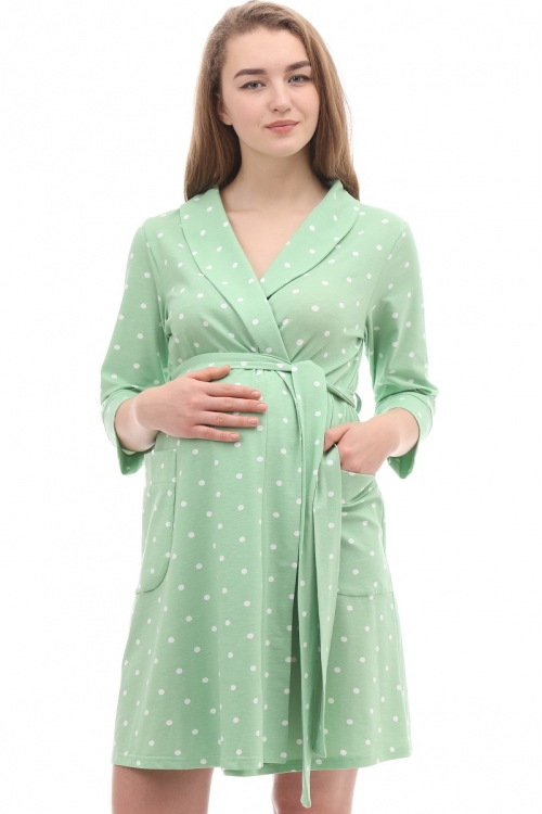 1-НМК 15202 Халат женский для беременных и кормящих зелёный/белый