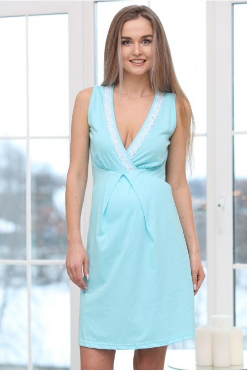П16504 Сорочка женская для беременных и кормящих белый/бирюзовый