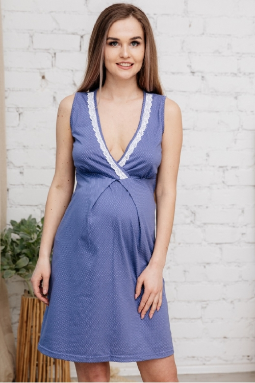 П16504 Сорочка женская для беременных и кормящих индиго/белый