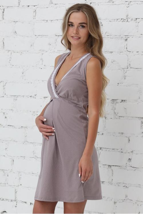 П16504 Сорочка женская для беременных и кормящих лиловый/белый