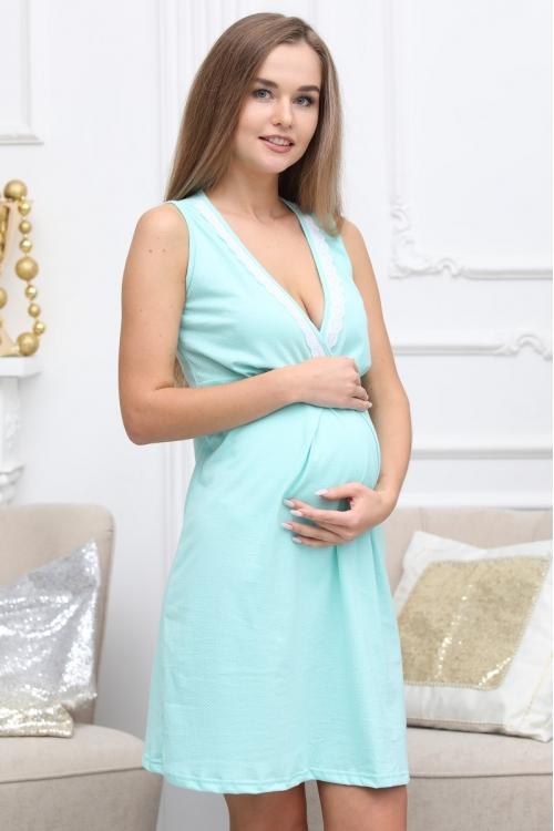 П16504 Сорочка женская для беременных и кормящих мятный/белый