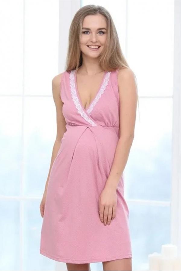 П16504 Сорочка женская для беременных и кормящих темно-розовый/белый
