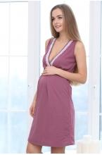 П16504 Сорочка женская для беременных и кормящих пурпурный/белый
