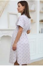 1-НМК 16702 Халат для беременных и кормящих мам серый меланж/розовый
