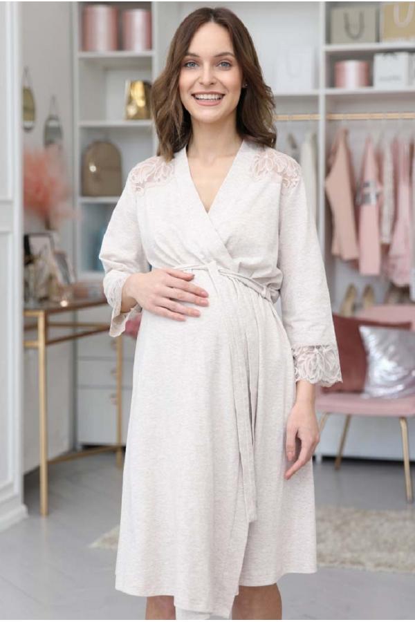1-НМК 17301 Халат для беременных и кормящих бежевый меланж