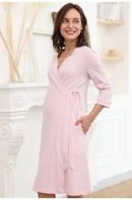 1-НМК 18401 Халат для беременных и кормящих мам светло-розовый/серый