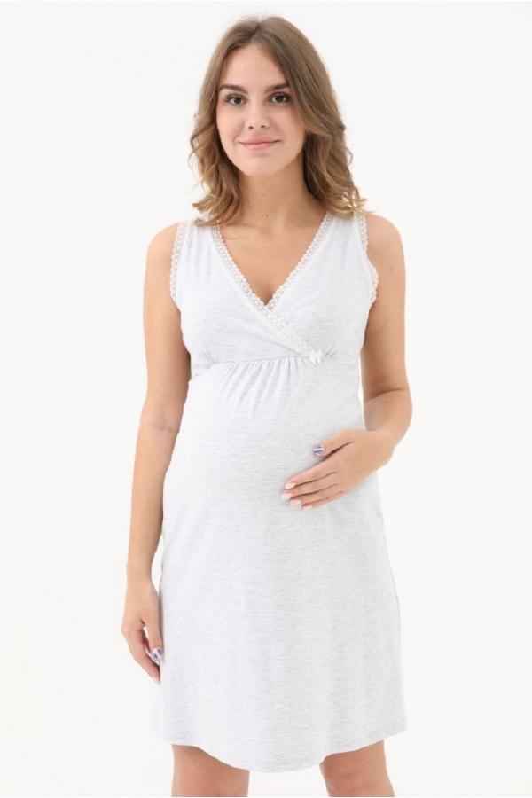 1-НМП 19302 Сорочка женская для беременных и кормления серый/белый